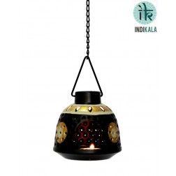 Black Hanging Tea Light Holder in Metal