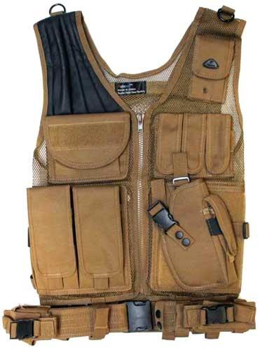 Airsoft Tactical Vest w/ Gun Holster TAN