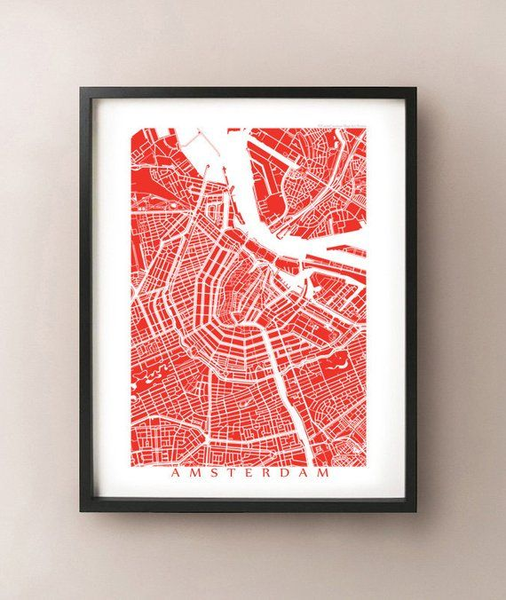 Amsterdam Map Etsy Amsterdam Map Map Painting Map Art