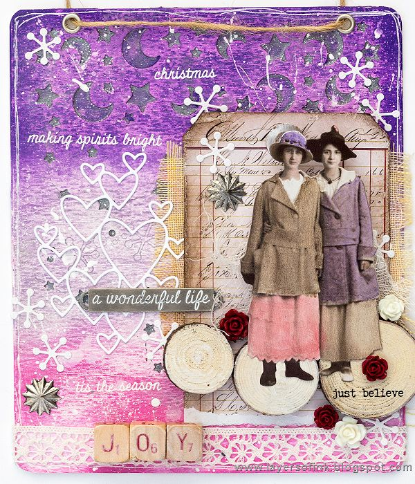 Layers of ink - Christmas Joy Mixed-Media Panel Tutorial by Anna-Karin Evaldsson, for the SSS DieCember Blog Hop. Made with SSS dies, Ranger paints and inks, and Tim Holtz idea-ology pieces.