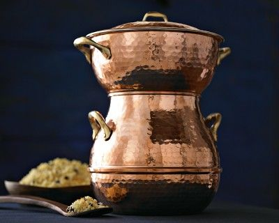Hand-Hammered Copper Couscoussier i have one I had bought years ago, i hope it was stainless steel, but maybe aluminum. I made wonderful delicious African and Moroccan vegetable stews served over couscous