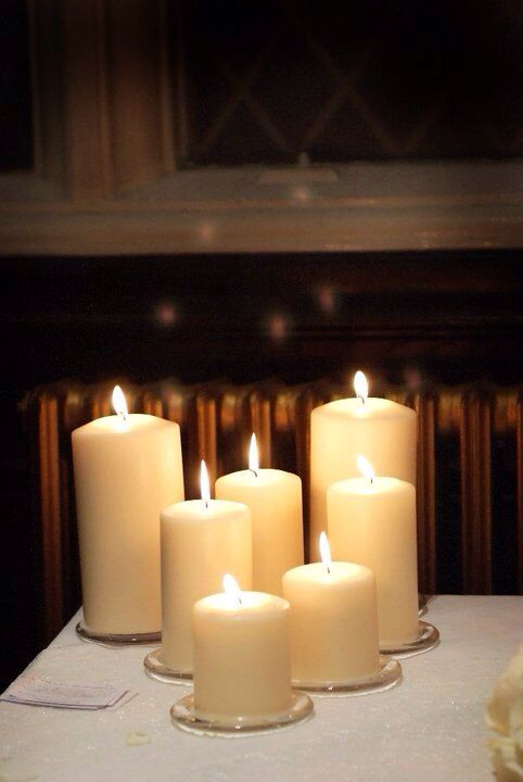By candle light, Christmas wedding