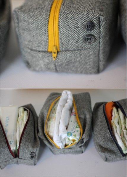 Firkantede tasker af et gammelt jakkesæt