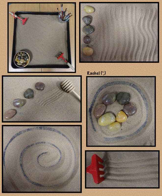 "Zen-type sand play from Rachel ("",)"