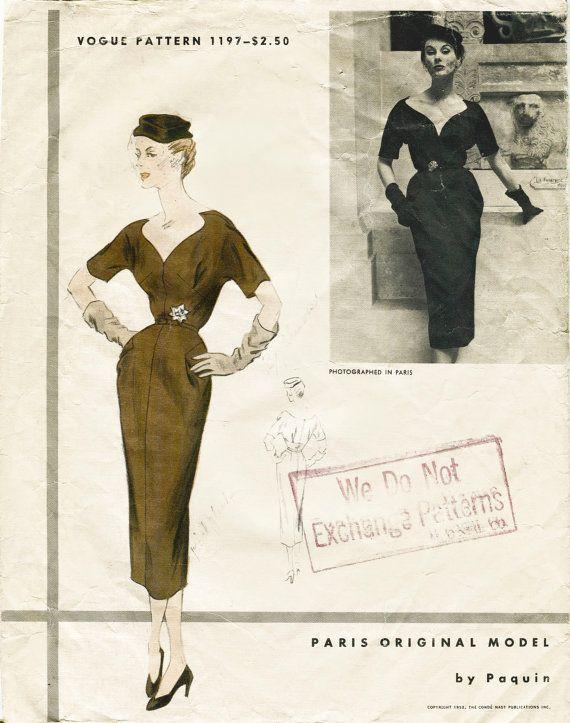 années 1950 années 50 vintage Sewing Pattern wiggle cocktail robe plongeante encolure Paquin Couturier buste 30 B30 repro