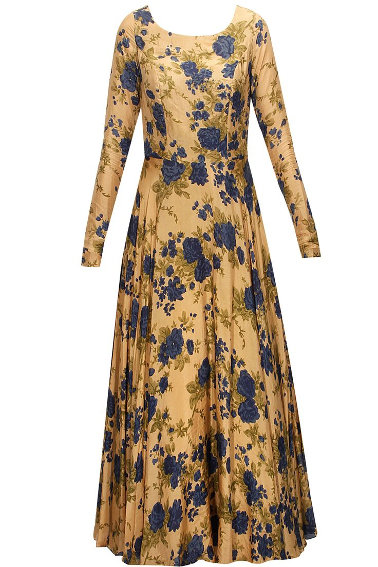 Earthy gold and blue floral printed embroidered anarkali set available only at Pernia's Pop-Up Shop.