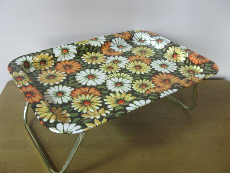 GROOVY Folding lap tray- Marsh Allan 1969 -midcentury -flower motif -bed tray- portable desk -folding tray -collapsible -TV tray -retro tray by oakiesclaptrap on Etsy