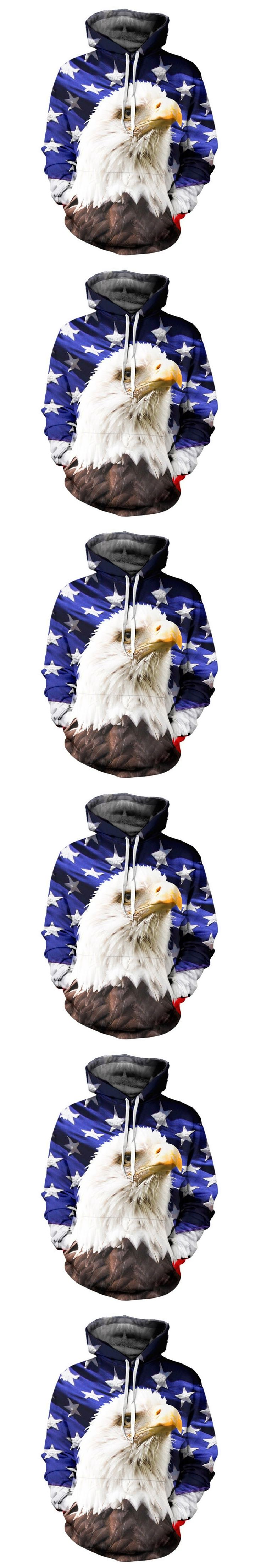 2017 NEW FASHION MEN WOMEN American flag Eagle HOODIE 3D Hoodie Sweatshirts Pullovers Autumn Tracksuit Winter Loose Thin Hoody