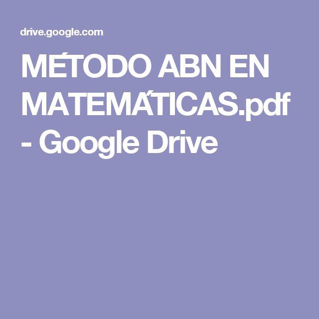 MÉTODO ABN EN MATEMÁTICAS.pdf - Google Drive