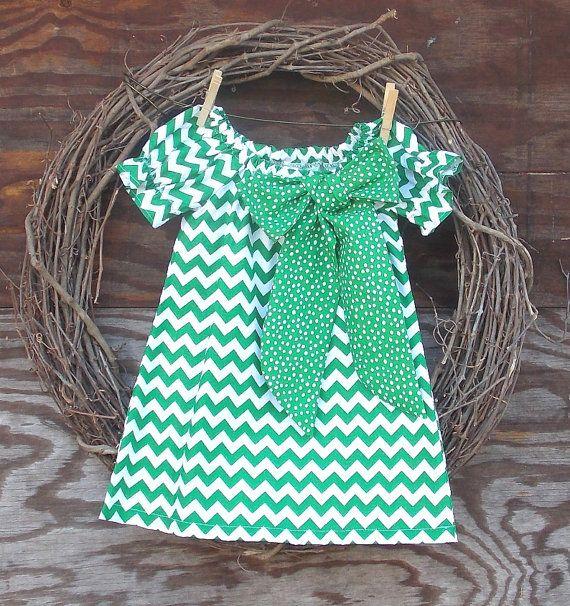 Girls Green Chevron Dress  Girls Peasant Dress by SouthernSister2