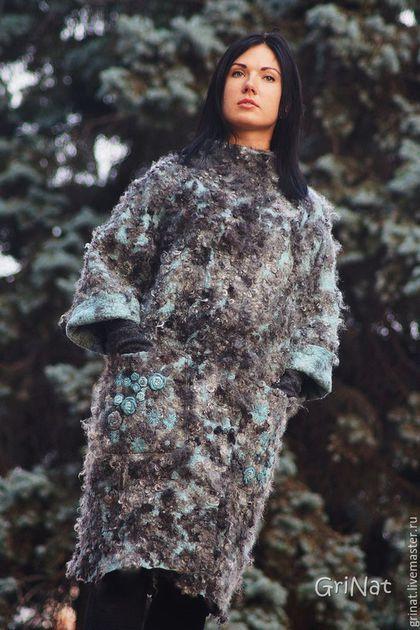 """Верхняя одежда ручной работы. Пальто""""Аквамариновые грезы"""". GriNat. Ярмарка Мастеров. Авторский дизайн, Дизайнерское пальто, пальто купить"""