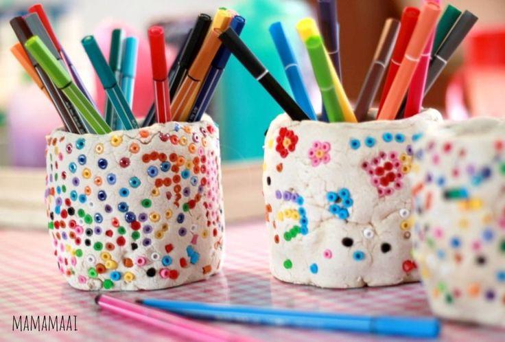 hamabeads, strijkkralen, pennenbakje maken van zoutdeeg en strijkkralen, knutselen met kinderen
