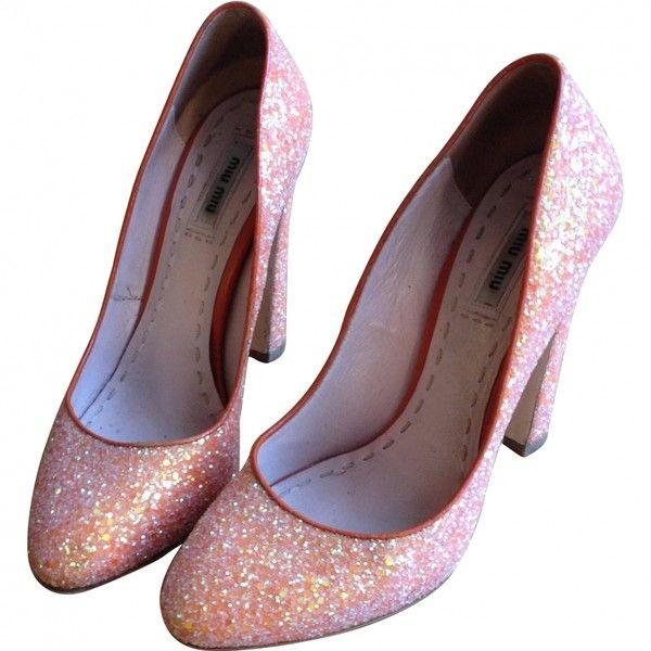 PUMPS MIU MIU ($265) ❤ liked on Polyvore featuring shoes, pumps, heels, footwear, pink, heel platform shoes, pink sequin shoes, pink shoes, sequin shoes and heels & pumps