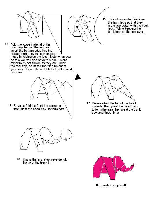 elephant  1 pink elephant origami diagrams
