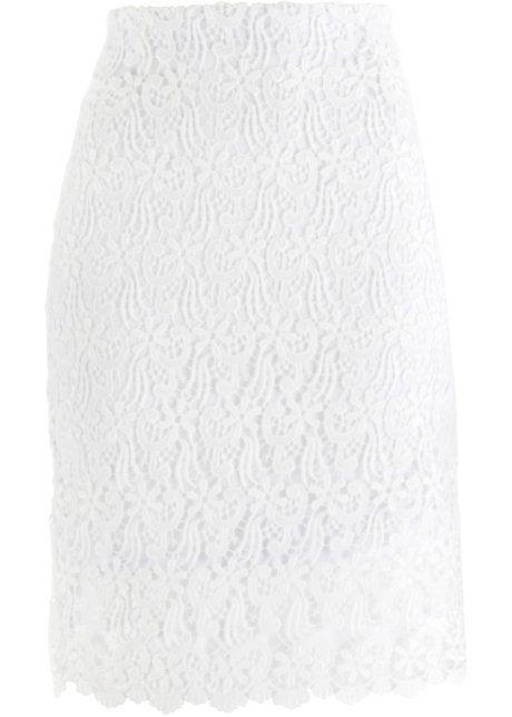 Bonprix rok wol wit kanten stof skirt wool white lace