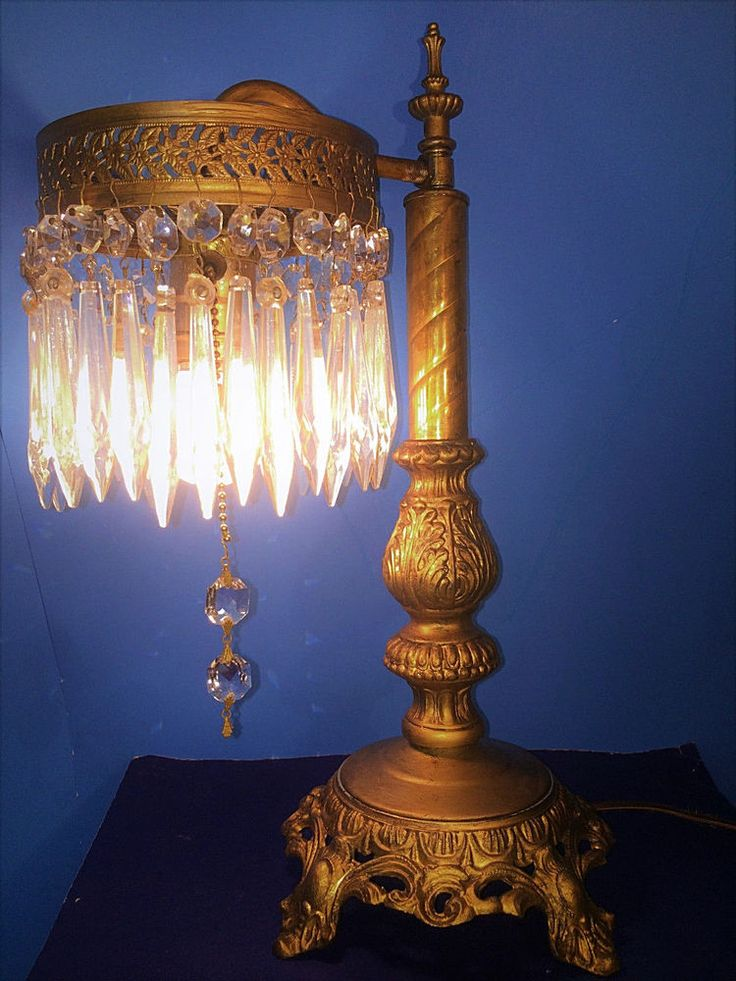 STUNNING ANTIQUE VICTORIAN TABLE OR DESK LAMP W/ CRYSTAL LUSTRES, C1920 #victorian