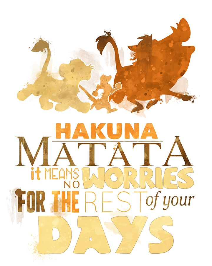 Hakuna Matata 8×10 Lion King Printable Poster – DIGITAL / Instant Download / Simba / Timon / Pumbaa / Disney Wall Art / Home Decor / Quote