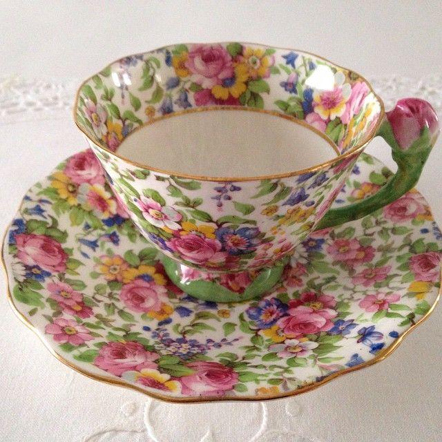 Atlas Chintz Tea Cup Floral Handle