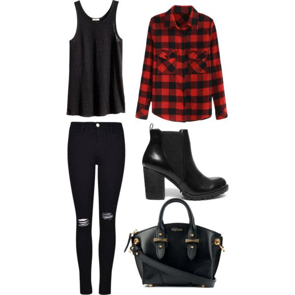 Senza titolo #30 by hopegloverglow on Polyvore featuring moda, H&M, Frame Denim, Steve Madden and Alexander McQueen