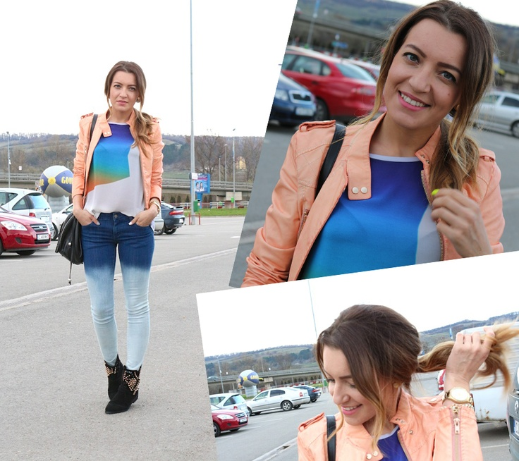 More pictures on blog   http://www.sandrab.ro/2013/04/peach-and-gradient-jeans.html