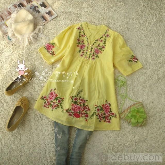 グラマー韓国スタイルショートスリーブ中国スタイルシャツ