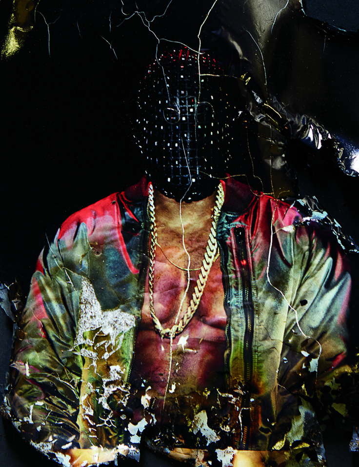 "Kanye West wears Maison Martin Margiela mask for the ""Yeezus"" Tour …  Steven Klein (photo) … Karl Templer (style) … Ibn Jasper and Tomo Jidai (hair) … Sammy Mourabit (make-up) … Andrea Stanley (set) … Interview Magazine, January 2014…"
