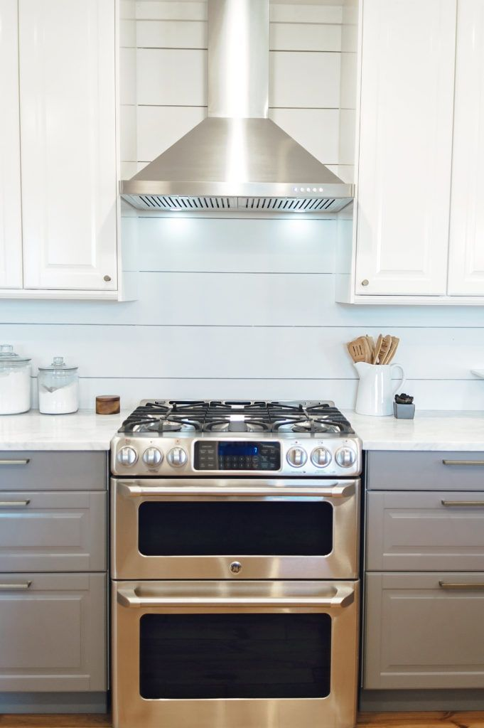 Ge Cafe Series Gas Range And Double Oven Ikea Bodbyn Cabinets In