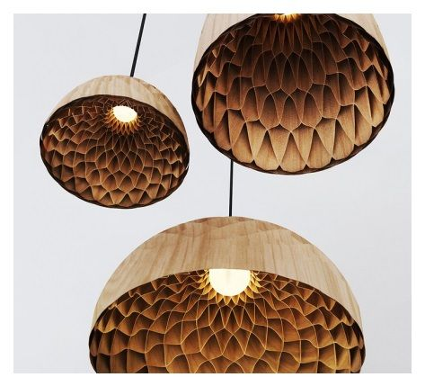 'The Nest' is a pendant lighting fixture modelled on the honeycomb architecture of a bee's nest. Made from bamboo veneer by Copper I.D.