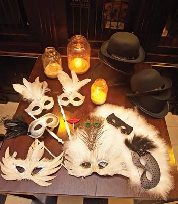 Fun masks and props for a wedding photo booth!