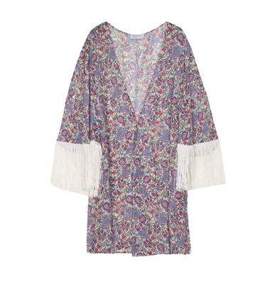 Flower print kimono with fringes