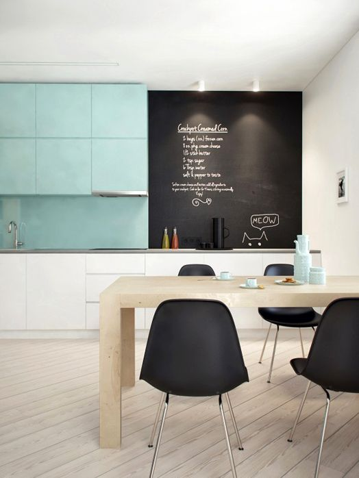 contrasting teal upper cabinets and back splash and white glossy lower cabinets; modern kitchen chalkboard wall