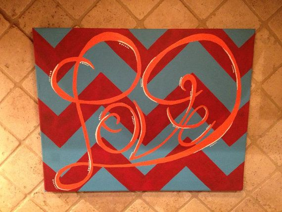 LOVE Heart Hand Painted Chevron Canvas Sign by RebelChickDesigns, $35.00