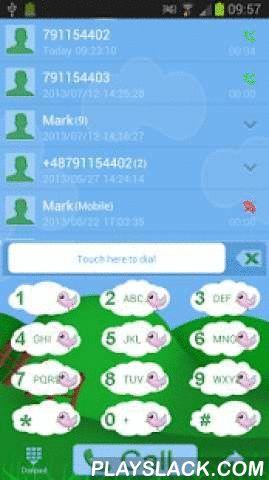 Happy Farm For GO Contacts  Android App - playslack.com ,  Toepassing op contacten met thema van grappige dieren uit cartoons GO. Sympathieke en leuke app voor mensen die cartoons en aangepaste telefoon uitstraling houdt. Hoofdmenu van de contacten is fairy glade en azuurblauwe hemel. Namen van contactpersonen zijn wit, datum en klok is blauw. Toetsenbord toetsen zijn vervangen door kleine wolken, op die kleine roze vogel, cijfers en letters zijn groen. Toets voor bellen heeft blauwe…