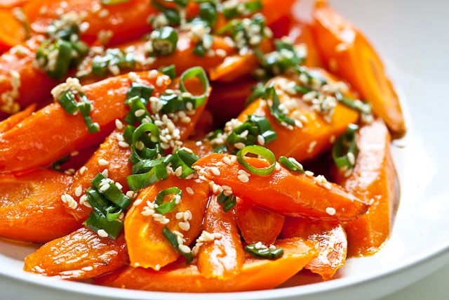 Roasted Carrots with Sesame Ponzu Vinaigrette Recipe Side Dishes with carrots, cooking oil, ponzu, sesame seeds, green onions, toasted sesame oil