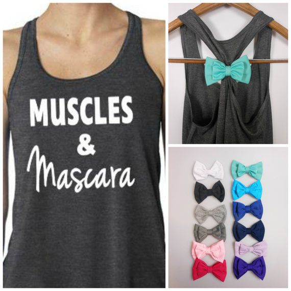 Muscles and Mascara Tank TopBow Tank. Bow Top. Workout Tank . Exercise Shirt. Gym Tank on Etsy, $27.95