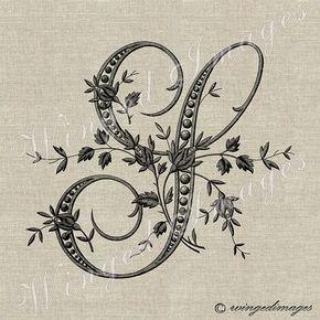 Antique Français Monogram lettre S instantanément par WingedImages