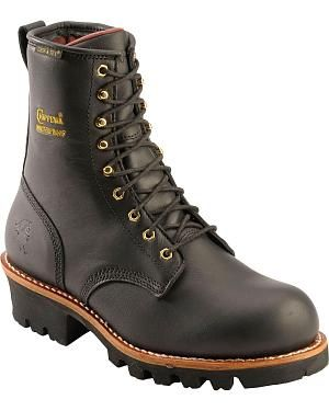 "Chippewa Waterproof & Insulated 8"" Logger Boots - Steel Toe: Handsome Chippewa logger work… #CowboyClothing #Westernwear #CowgirlBoots"