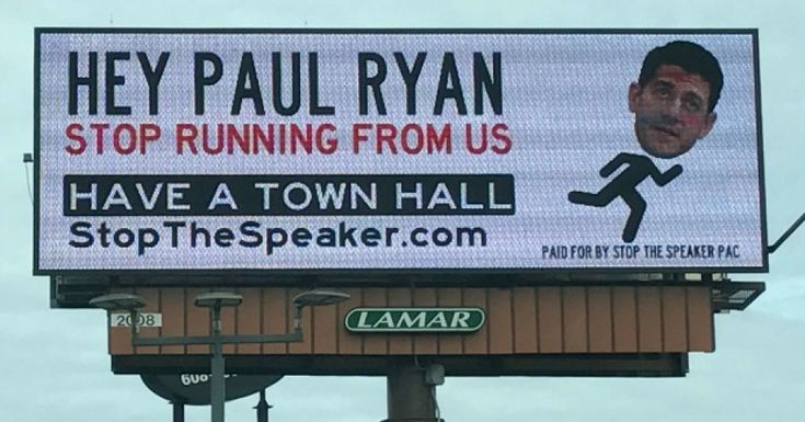 "Constituents have for weeks been complaining of difficulty reaching House Speaker Paul Ryan (R-Wis.) by phone, so on Wednesday a national advocacy group brought their messages right to the congressman's doorstep—""the old-fashioned way.""He'll get them when he returns from a fundraising jaunt in Texas, presumably."