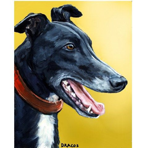 Greyhound art dog art print of original painting