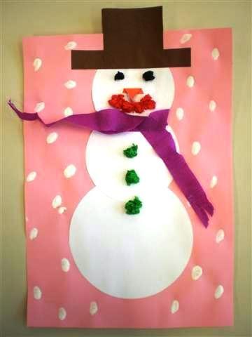Knutselopdrachten.nl - Sneeuwpop knutselen voor peuter of kleuter