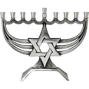 Flowing Pewter Magen David Hanukkah Menorah - Judaica Mall