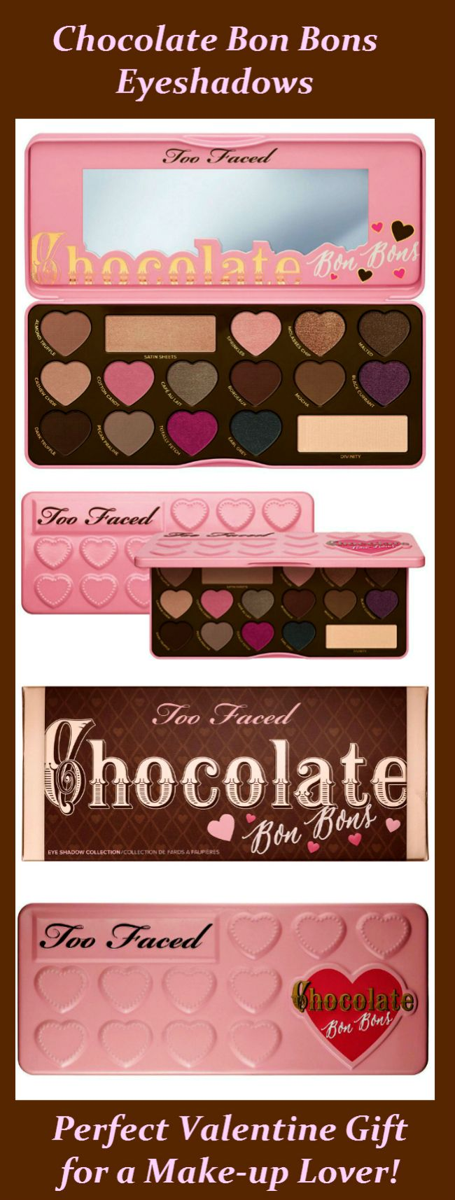 TOO FACED CHOCOLATE BON BONS EYESHADOW PALETTE INFUSED WITH CHOCOLATE-SCENTED, ANTIOXIDANT-RICH COCOA POWDER! CHOCOLATE SCENTED NATURAL MINERAL…
