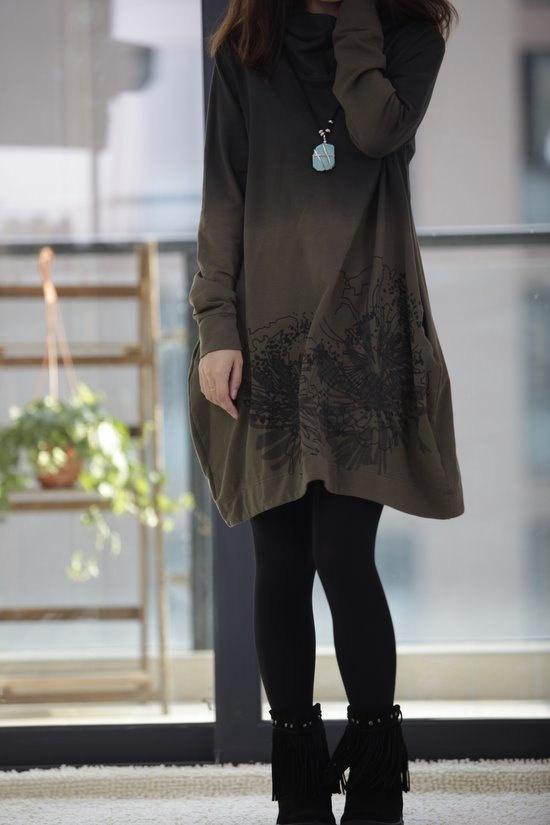 Hooded long sleeve irregular gradient Coat dress. $68.00, via Etsy.