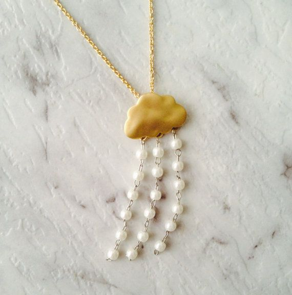 GOLD PLATED CLOUD Necklace with Pearl Raindrops by AmoreAndAdore