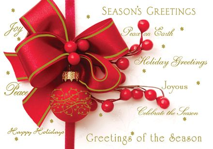 12 best holiday greeting cards images on pinterest holiday season greetings red ribbon and ornament on the front christmas holiday cards m4hsunfo