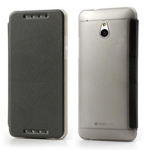 Zwart compact sideflip hoesje voor de HTC One mini