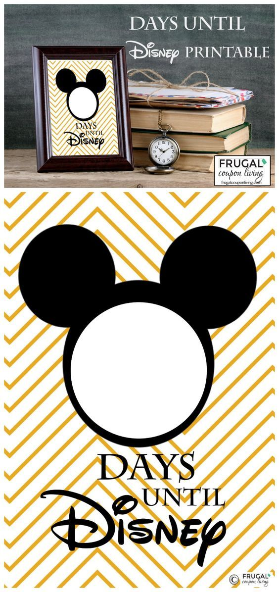 FreeCountdown to Disney Printable - countdown the days until Disney World, Disneyland, or a Disney Cruise. Frame and daily change the number!  Free printable on Frugal Coupon Living.