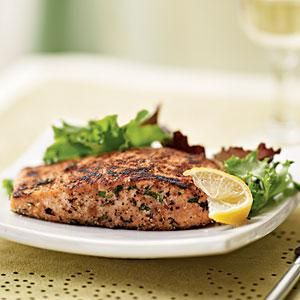 Herb-Crusted Salmon with Mixed Greens Salad | MyRecipes.com