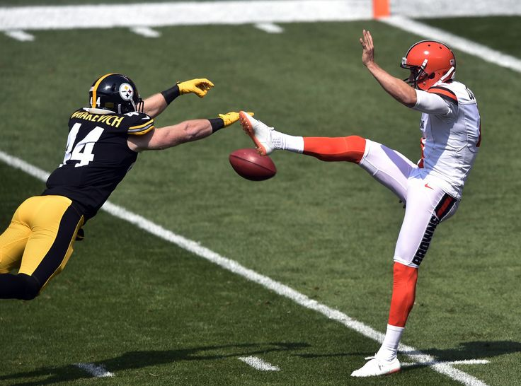 Britton Colquitt, Tyler Matakevich: Pittsburgh Steelers outside linebacker Tyler Matakevich (44) blocks a kick by Cleveland Browns punter Britton Colquitt (4) during the first half of an NFL football game, Sunday, Sept. 10, 2017, in Cleveland.