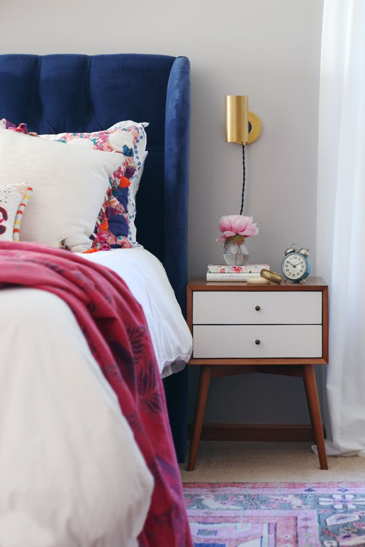 Blue and pink master bedroom - Blogger Home Tour House Of Hipsters Master Bedroom With A